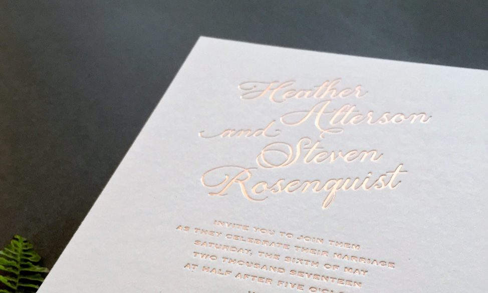rose gold foil with edging