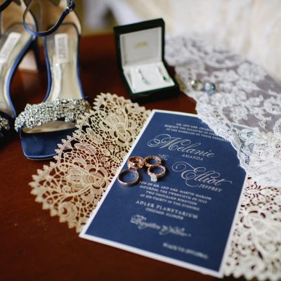 lasercut invitation with navy and silver foil