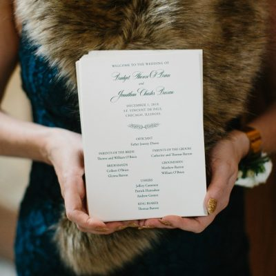 green print wedding program