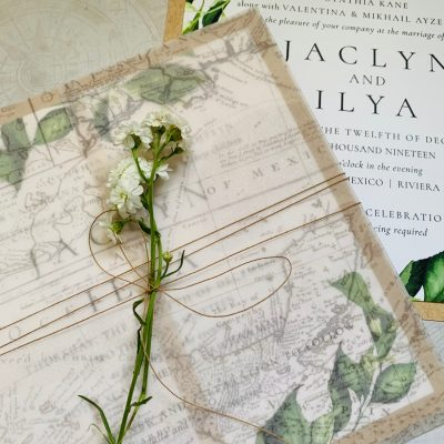 custom wedding invitation with map on vellum with twine