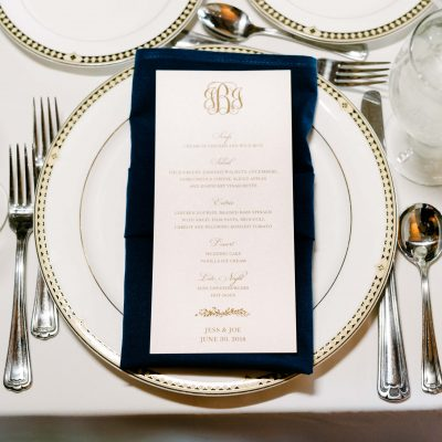 blush and gold menu