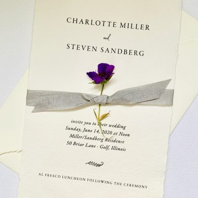 deckled edge wedding invite with ribbon